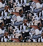 Cotton Farm Animals Goats Packed Allover Cotton Fabric Print by the Yard (434-black)