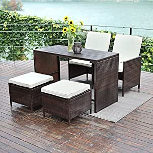 5 PCS Outdoor Patio Furniture Set,Wisteria Lane Porch Sectional Sofa Wicker Dining Set Rattan Chair and Table,Brown