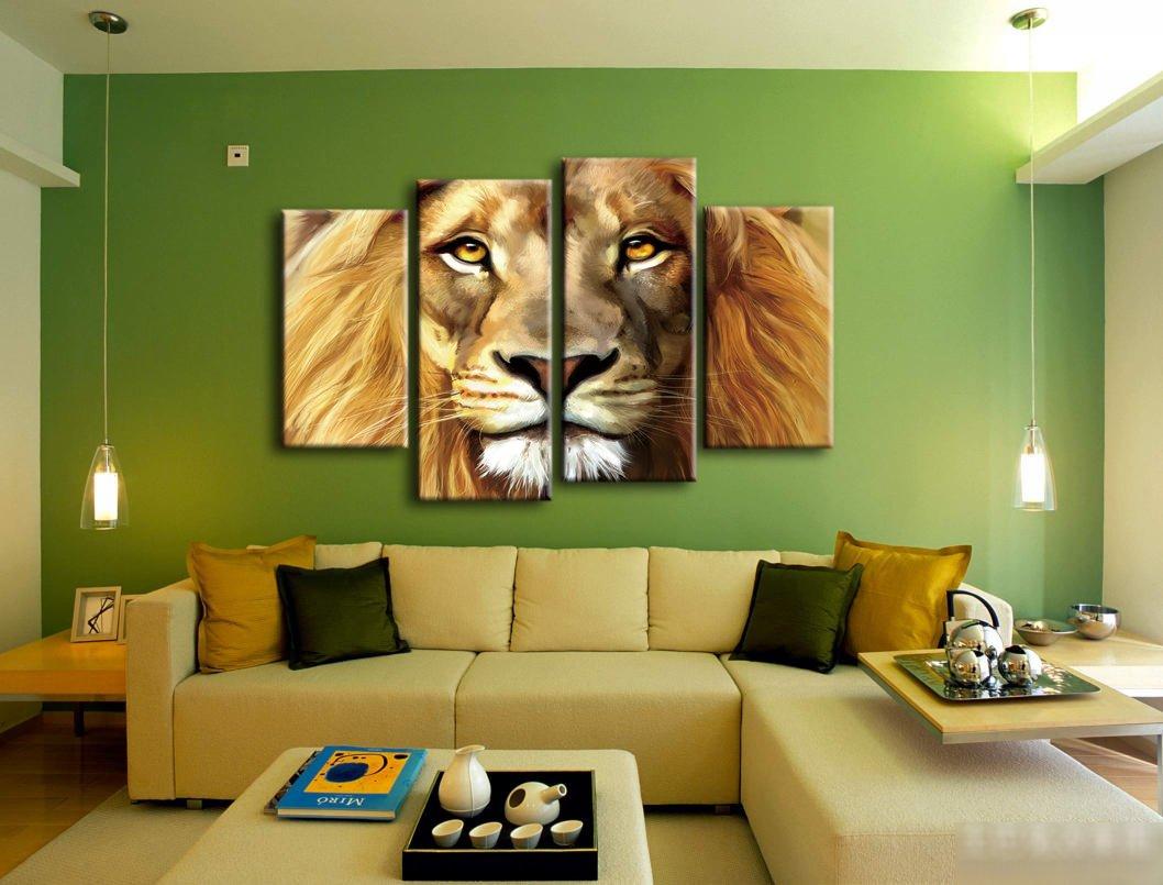 Amazon.com: Nuolanart- 4 Panels Large Size Cool Lion Face Canvas ...