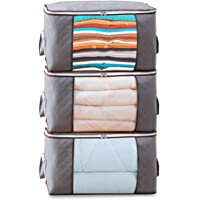 T Tersely 3PCS Thick Strong Clothes Quilt Blanket Storage Bag With Zips, Duvet Storage Bag King Size, Breathable Fabric…