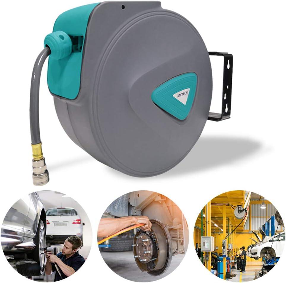 HENGMEI 10m Enrouleur de tuyau /à air comprim/é D/évidoir Tuyau Automatique Raccord en Cuivre 1//4
