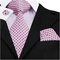Barry.Wang Check Tie Handkerchief Silk Formal Business Wedding Necktie Set