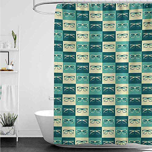 - home1love Funny Shower Curtain,Indie Pattern with Eyeglasses in Vintage Style Hipster Cool Collection,Shower Hooks are Included,W36x72L,Petrol Blue Turquoise Cream