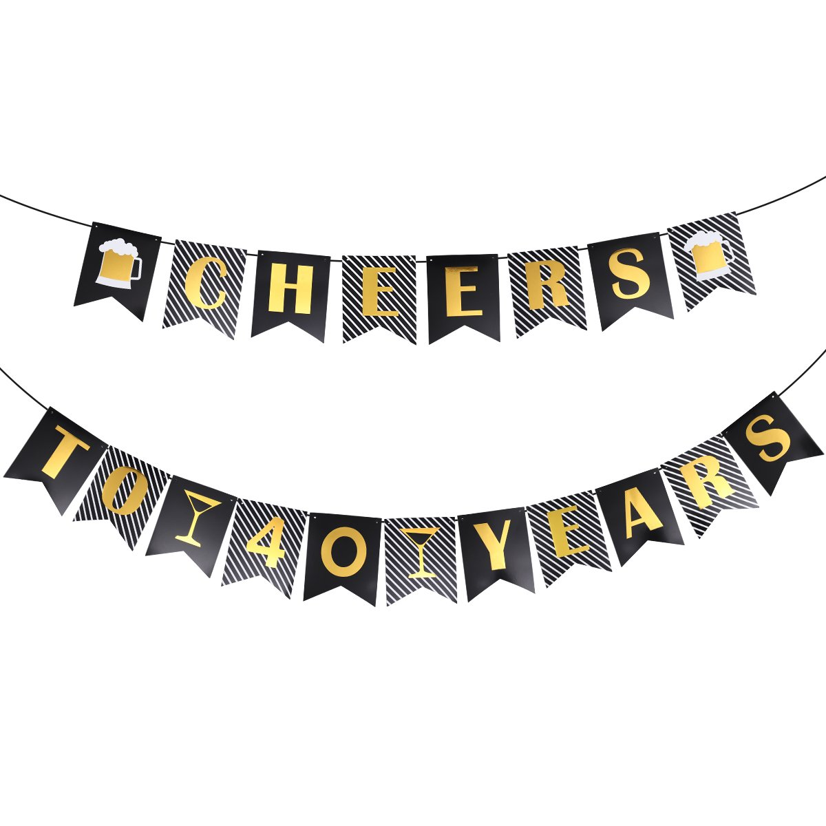 Unomor 40th Birthday Decoration, 40th Birthday Banner for Birthday & Anniversary Decorations - Cheers to 40 Years Banner