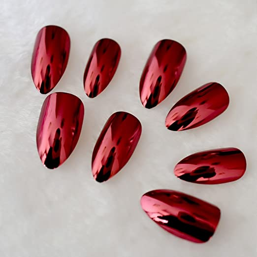 Amazon.com : Mirror Sexy Red False stilettos Nails Metal Plating Oval stiletto Sharp Metallic Fake Nails Manicure Wear Nails Art Tips 26 : Beauty