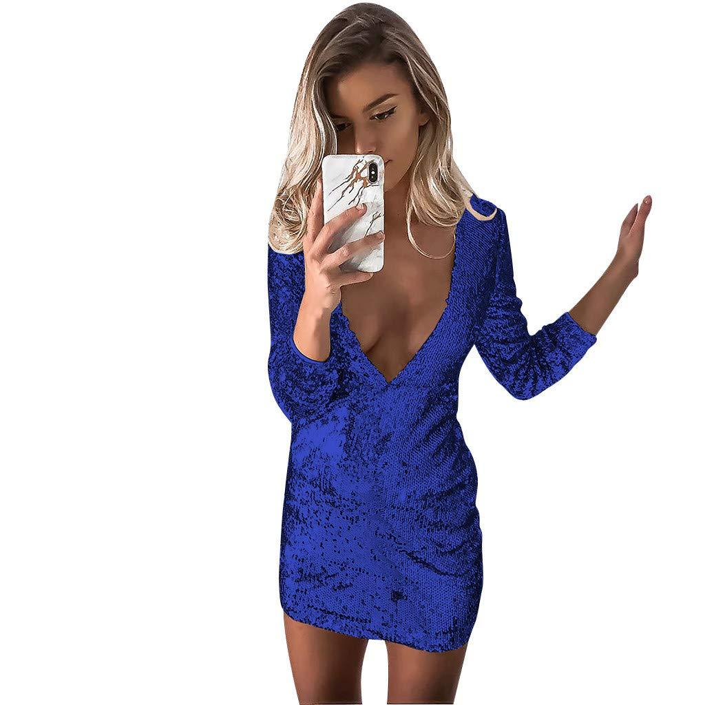 Soupliebe Vestido de Moda Vestido Brillante Falda de Lentejuelas Vestido Delgado Vestido de Cuello v Profundo Vestido de Cadera Vestido de Noche Falda de ...
