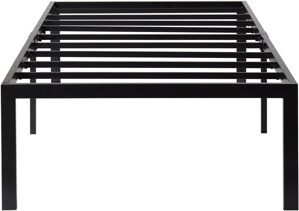 SLEEPLACE 18 Inch High Profile Heavy Duty Steel Slat Basic Home Furniture Unique Design Mattress Foundation Bed Frame, Black Bed Frame