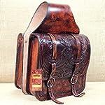 HILASON WESTERN HAND TOOL LEATHER COWBOY TRAIL RIDE HORSE SADDLE BAG MAHOGANY