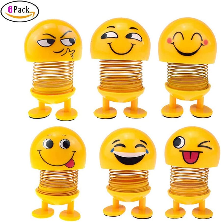 Spring Emoji Shaking Head Dolls Smiley Face Springs Dancing Toys Action Figures