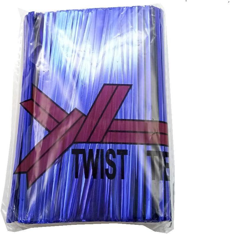 H-Laner 600Pcs 4Inches Metallic Twist Ties - Blue
