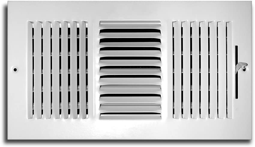 Truaire C103M 10X06(Duct Opening Measurements) 3-Way Supply 10 6-Inch Sidewall or Ceiling Register Grille, White, Inch x 6-Inch, Powder Coated