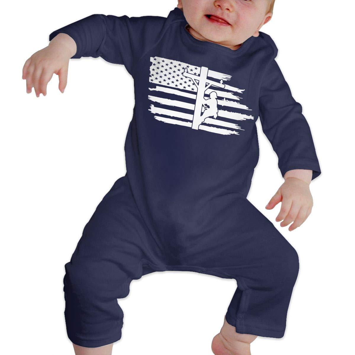LBJQ8 Lineman Powerline Technician American Flag Infant Baby Boy Girl Soft /& Breathable Bodysuits Coverall Jumpsuit