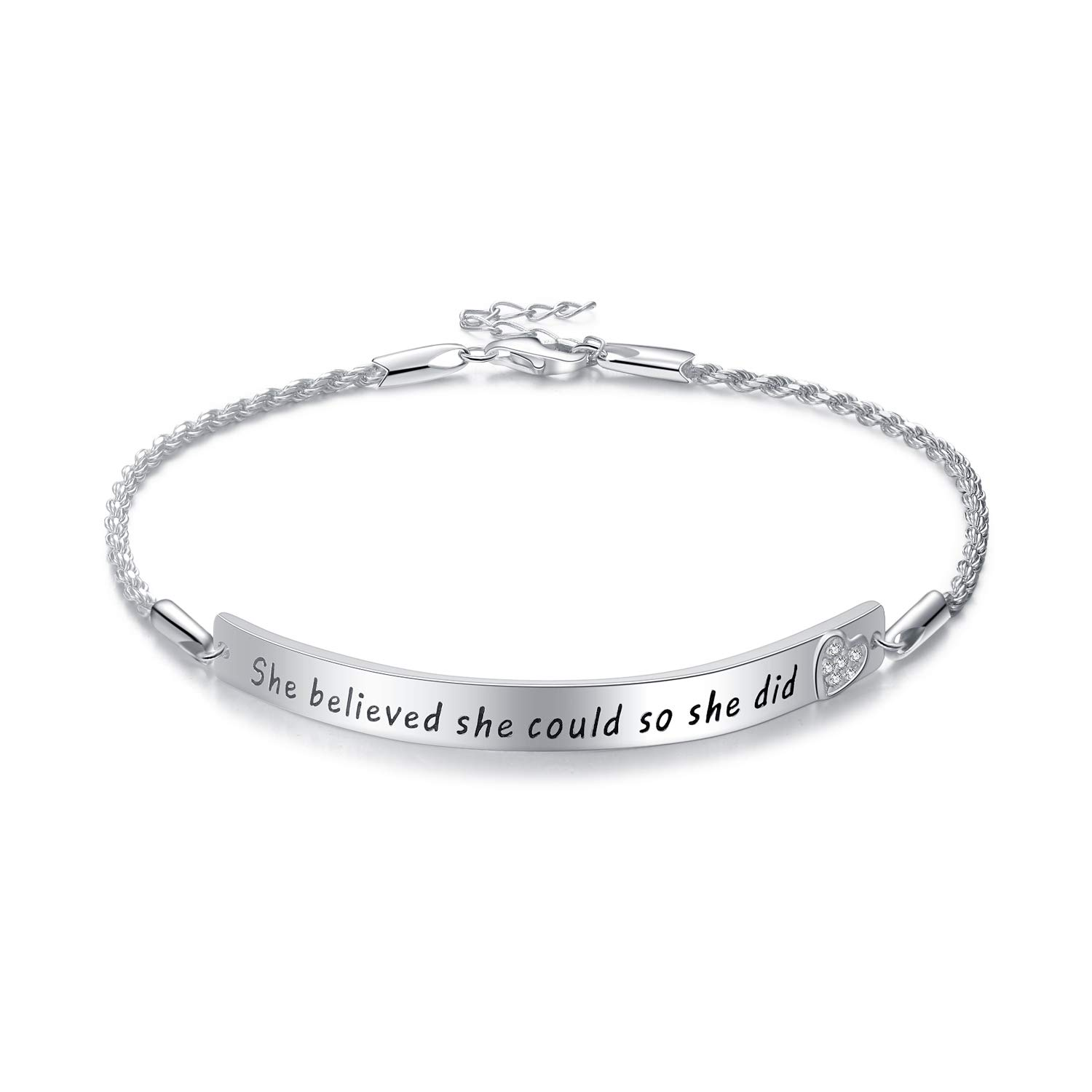 YFN ''She Believed She Could So She Did'' Sterling Silver Engraved Inspirational Adjustable Bracelet Graduation Gift for Her, Women (White Gold Plated)