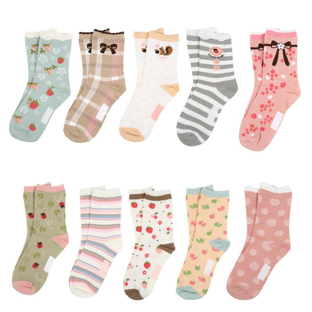 VBG VBIGER Girls Cotton Crew Seamless Socks Cute Novelty for Baby Toddler Kids 10 Pack ¡ by VBG VBIGER (Image #9)