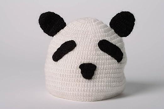Gorro de animal tejido a dos agujas artesanal panda: Amazon.es: Hogar