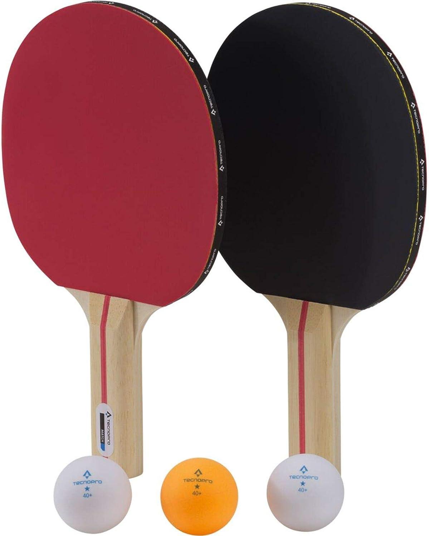 Taglia Unica TECNOPRO Racchetta da Ping Pong Match Racchetta da Ping Pong Nero//Rosso