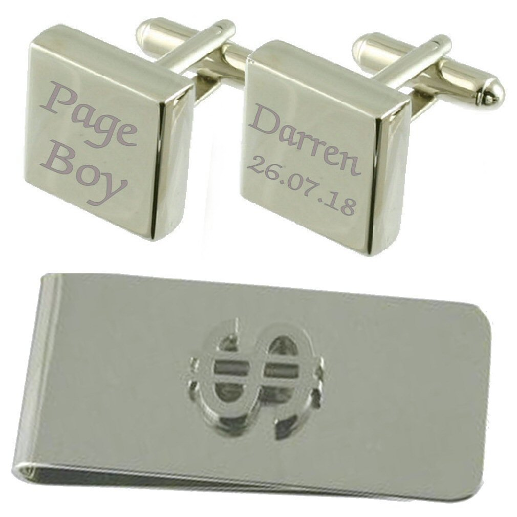 Page Boy Engraved Square Cufflinks Dollar Money Clip Gift Set