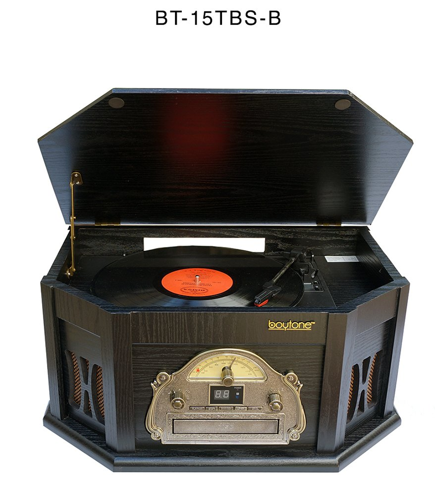 7-in-1 Boytone BT-15TBSB Classic Turntable Stereo System, Vinyl Record Player, AM/FM, CD, Cassette, USB, SD slot. 2 Built-in Speaker, Remote Control, MP 3 Players