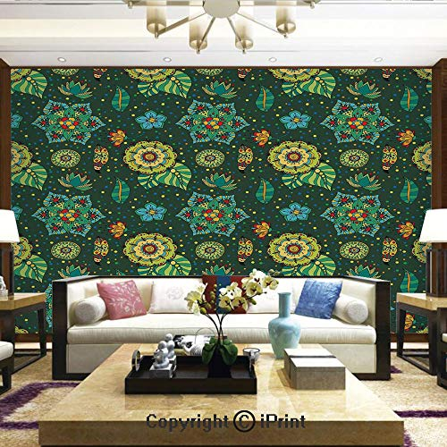 Dotted Hoop - Lionpapa_mural Removable Wall Mural Ideal to Decorate Your Living Room,Colorful Flower Decorations Fantasy Hand Drawn Festive Dotted Detailed Modern Artsy,Home Decor - 66x96 inches