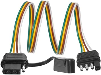 Amazon Com Partsam Trailer Wire Extension Plug 4 Pin Hitch Light Trailer Wiring Harness Extender With Rubber Cab For Led Brake Tailgate Light Bar 32 Inch 4 Way Flat 4 Pin Universal Wiring