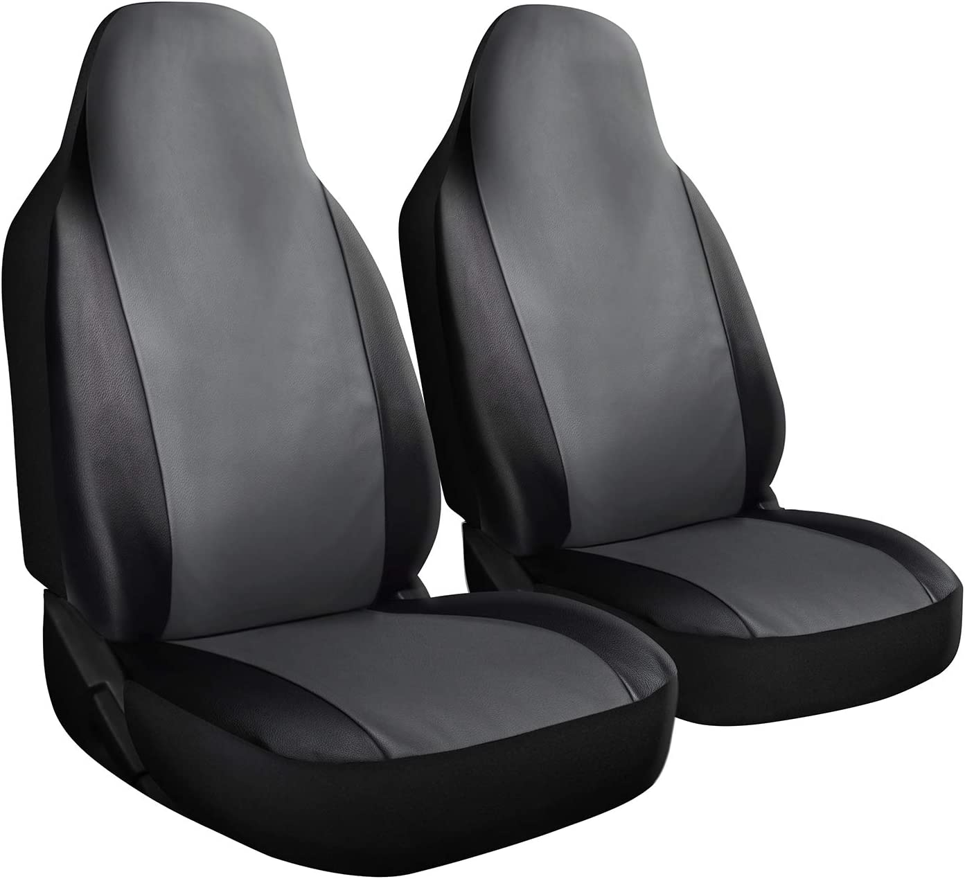 OxGord Car Seat Cover - PU Leather Two Toned with Front Low Bucket Seat - Universal Fit for Cars, Trucks, SUVs, Vans - 2 pc Set