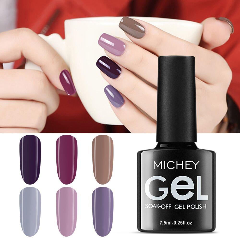 MIYOUNE Gel Nail Polish set,UV LED 6 Colour Gel Nails Set Soak Off gel polish Manicure Kit, 0.25 fl oz