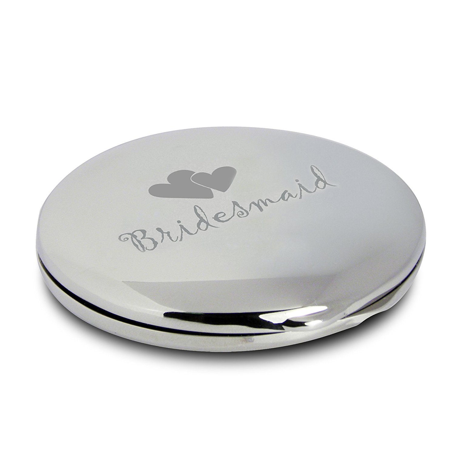 Silver Finish Engraved Bridesmaid Round Compact Mirror with Heart Motif Great Gift Idea for Wedding Thank You Gifts Presents Bridesmaids HealthCenter