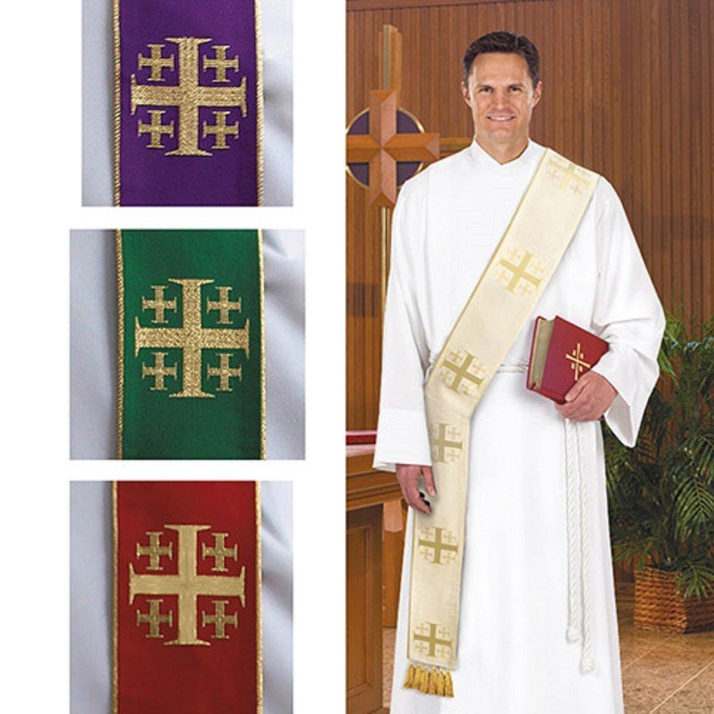 Clergy Clothing, Jerusalem Cross Deacon Stole Set of 4 Colors