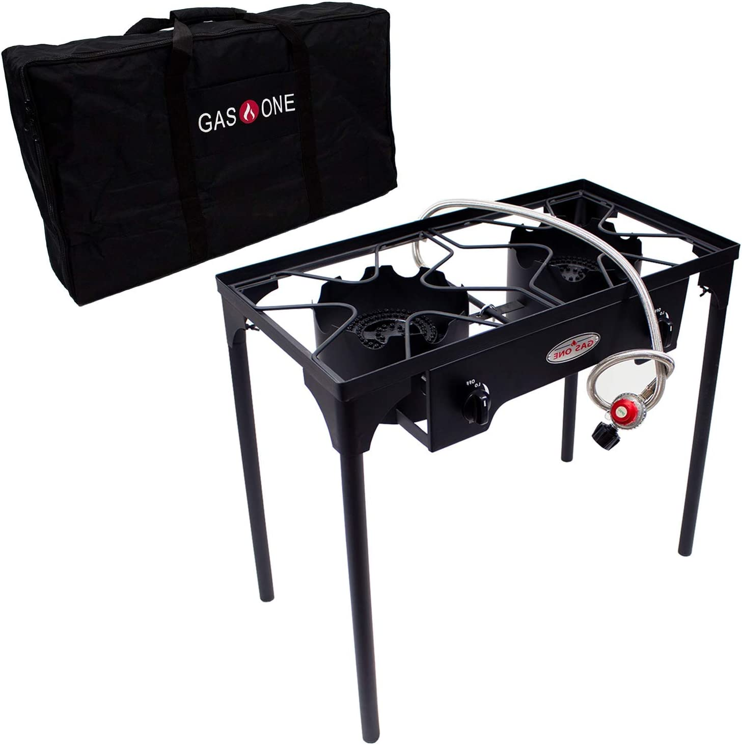 GasOne B-5000+50460 Propane Double Burner & Carry Bag 2 Burner Gas Stove Outdoor