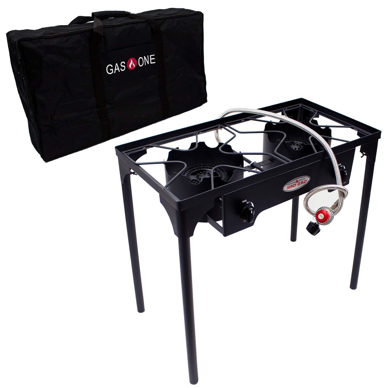 GasOne B-5000+50460 Propane Double Burner & Carry Bag 2 Burner Gas Stove Outdoor