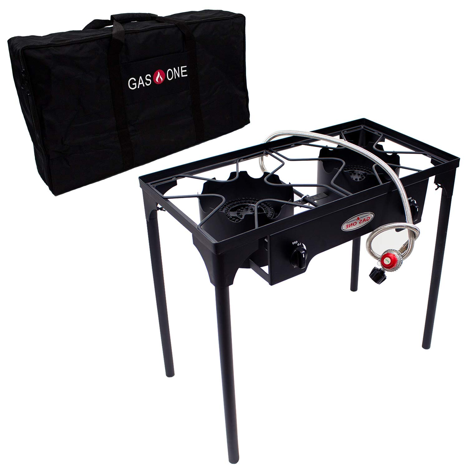 GasOne B-5000+50460 Propane Double Burner & Carry Bag 2 Burner Gas Stove Outdoor by GasOne