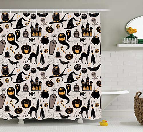 Vintage Halloween Shower Curtain by Ambesonne, Halloween Cartoon Jack o Lantern Tombstone Skulls and Bones, Fabric Bathroom Decor Set with Hooks, 70 Inches, Light Grey Multicolor