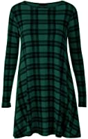 NEW WOMEN LONG SLEEVE TARTAN SWING FLARED DRESS CHECK LONG SLEEVE DRESS TOP PLUS UK SIZE 8-26 (M/L 12-14, DARK GREEN)