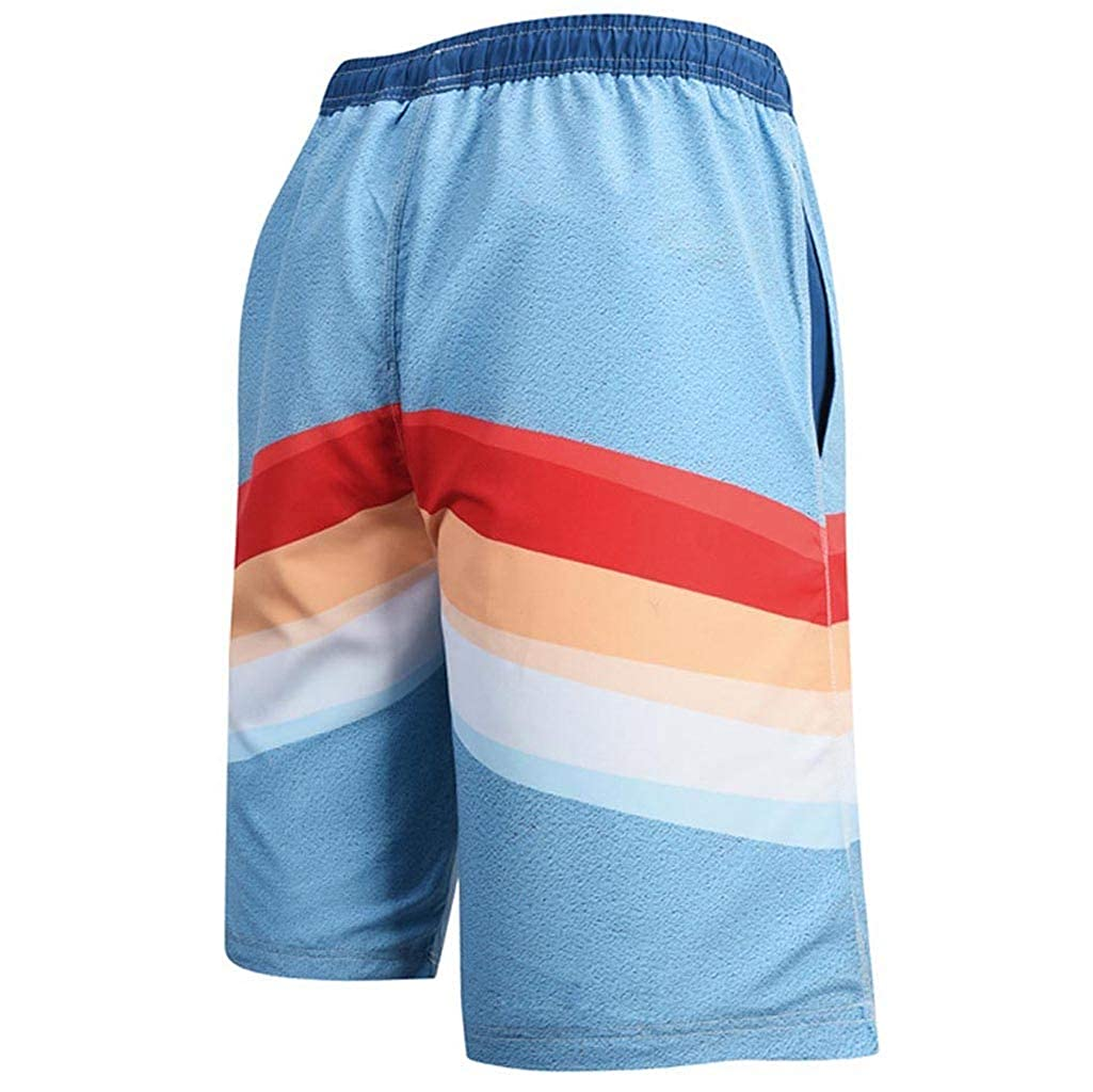 Manzzy Mens Casual Print Shorts Beach Loose Pants Quickly Dry Sport Fitness Trousers