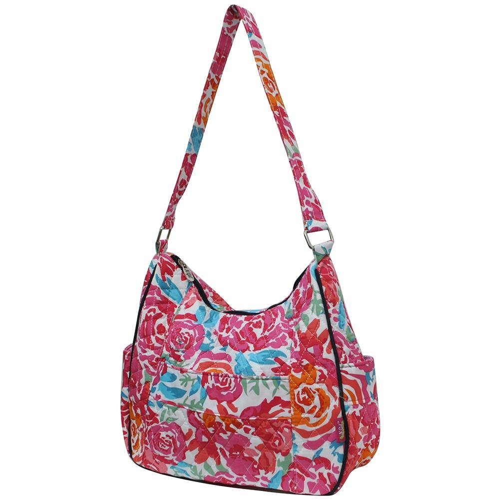 e7974fef72 Amazon.com: Ngil Quilted Cotton Hobo Shoulder Bag (All Flowers Navy): Shoes