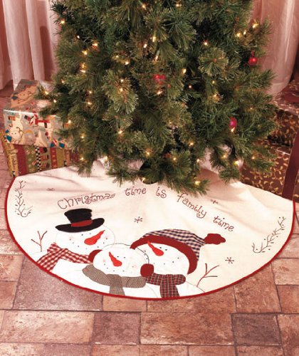 Christmas Tree Skirt 46 Inches In Diamener Embroidered Time Is Family B00EV8SBPS