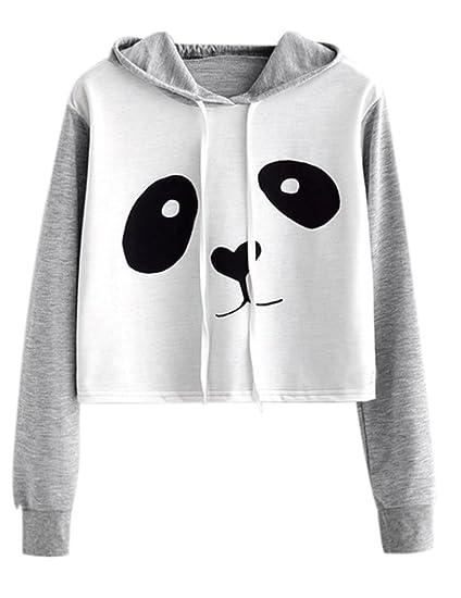 78670bee4bd NarZhou Panda Crop Top Hoodie, Women Teen Girl Polyester Cute Panda  Patchwork Pullover Top Sweatshirt ...