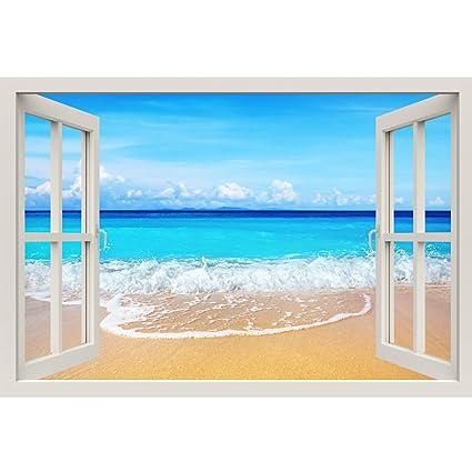 Marco para ventana pintado, playa, tamaño grande, diseño: illusion ...