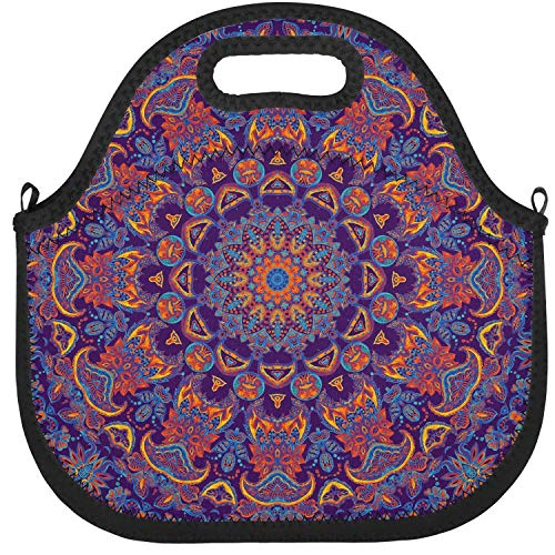 Recycled Kaleidoscope - Designer Lunch Box Round Colorful Kaleidoscope Insulated Resuable Thermal Durable Leakproof Recycled Fit-Fresh Outdoor School Tote Bag
