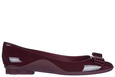 e91d8665b8d5 Salvatore Ferragamo Women s Leather Ballet Flats Ballerinas Lustra Bordeaux  UK Size 5.5 01M942 680629