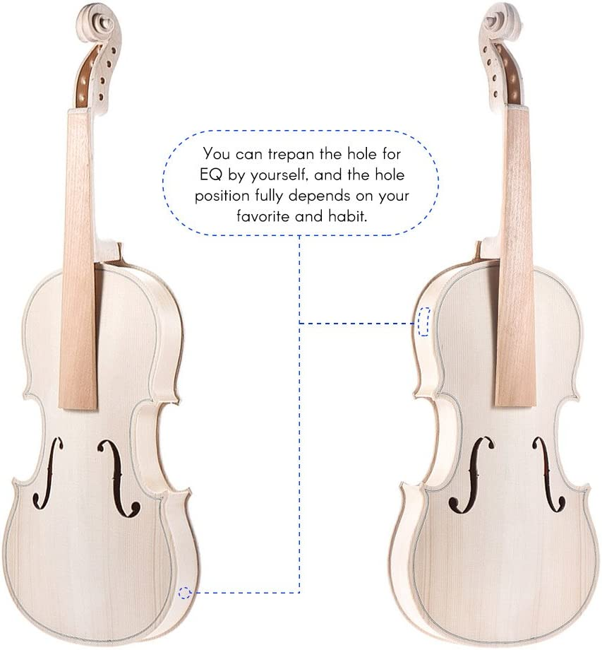 ammoon DIY 4//4 Full Size Natural Solid Wood Acoustic Violin Fiddle Kit Style 1