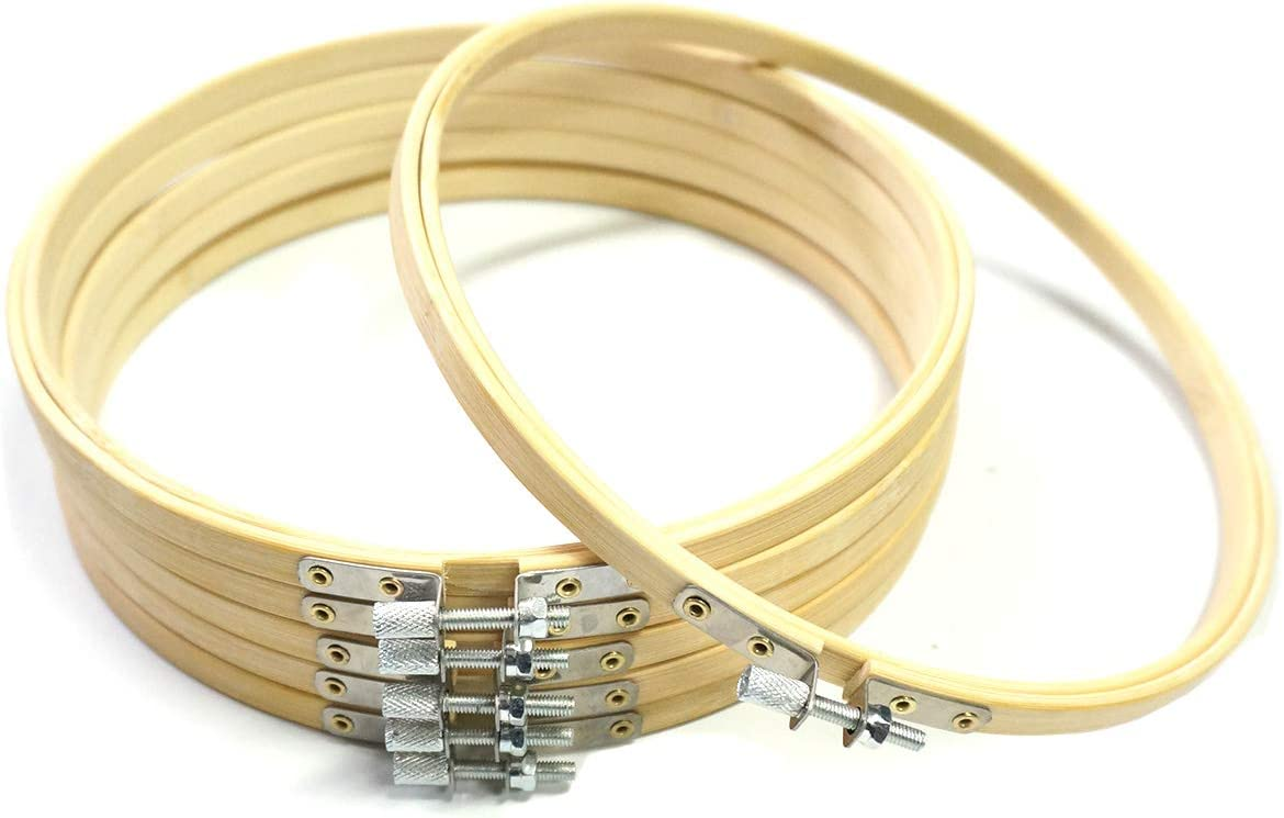 Misscrafts 6pcs 8inches//20cm Bamboo Hoops for Embroidery Cross Stitch DIY Craft Home Party Wedding Decoration
