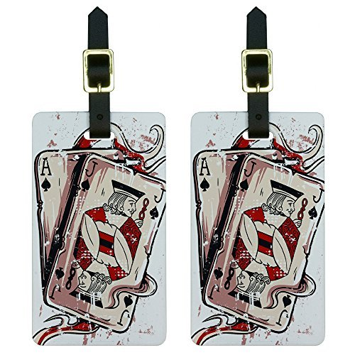 Graphics & More Ace Jack of Spades-Deck Cards Poker Gambling Luggage Tags Suitcase Id, White