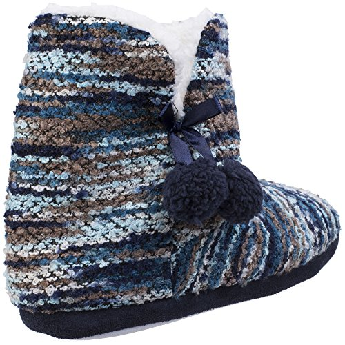 Fluffy Bootie Slippers On ladies Pull Blue Vienna Knitted Divaz Womens 70fqaawF