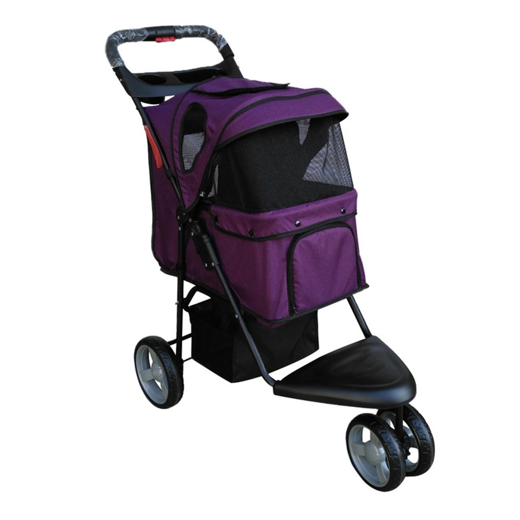 Purple Three Wheel Pet Stroller Dog Cat Portable Folding Jogger Travel Carriage Cart for Small Medium Pets. Cacoffay
