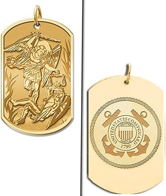 PicturesOnGold.com Saint Michael Doubledside Coast Guard Religious Medal 1 Inch Solid 14K White Gold