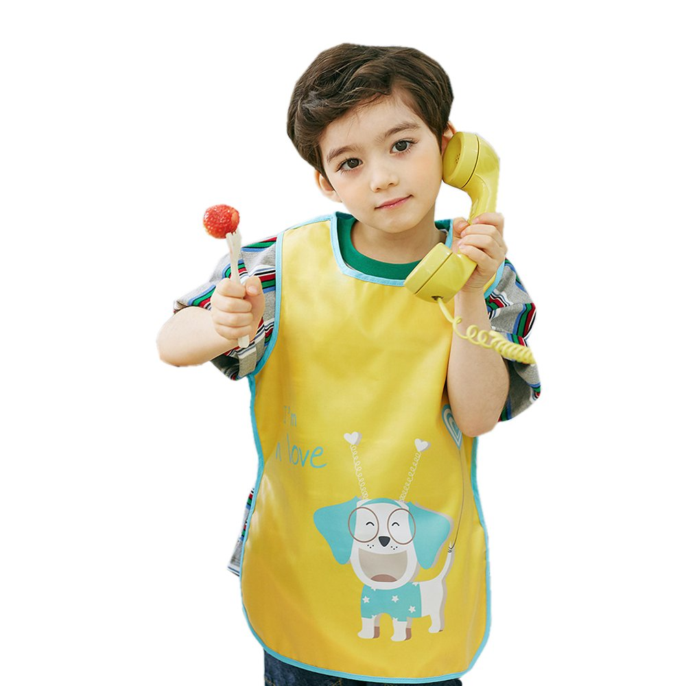 Hosim Kids Painting Apron Waterproof Sleeveless Art Smock, Children Art Craft Aprons Bib with Cute Big Pocket For Artist Painting/Handwork/Eating