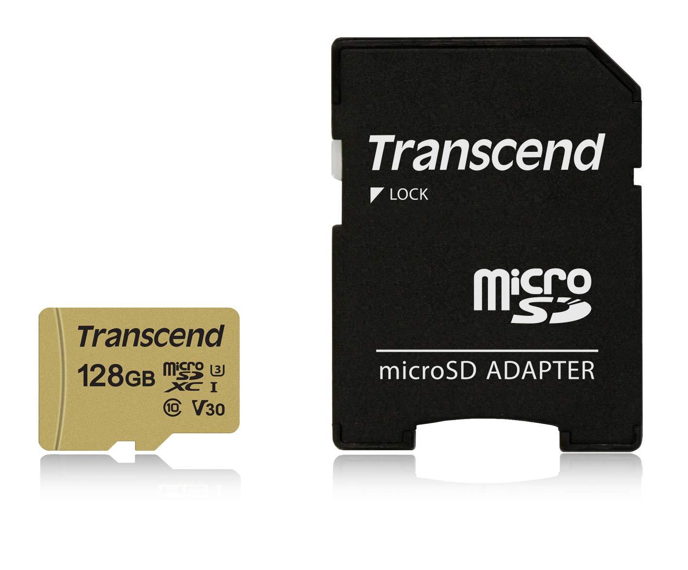 Transcend 128GB TS128GUSD500S-E UHS-I U3 MicroSD MemoryCard.