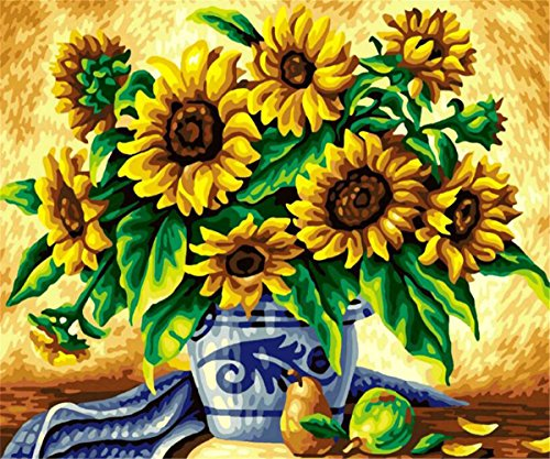 5D Diamond Painting Kit, DIY Embroidery Paint with Diamonds Wall Sticker for Wall Decor Full Drill - Sunflowers 14 x 18inch