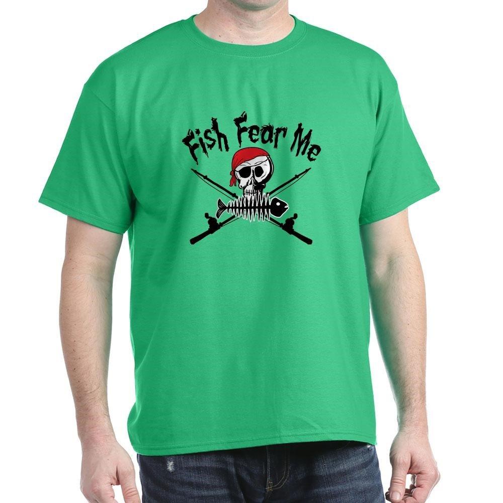 cf3303b1 Amazon.com: CafePress Fish Fear Me 100% Cotton T-Shirt Kelly Green: Clothing